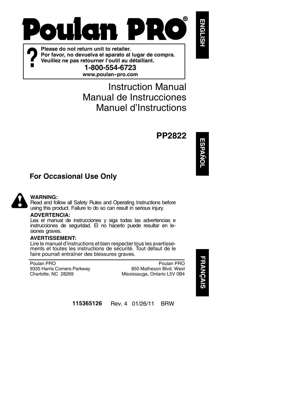 Poulan Pro Pp2822 Owners Manual Pp333 Wiring Diagram User 36 Pages