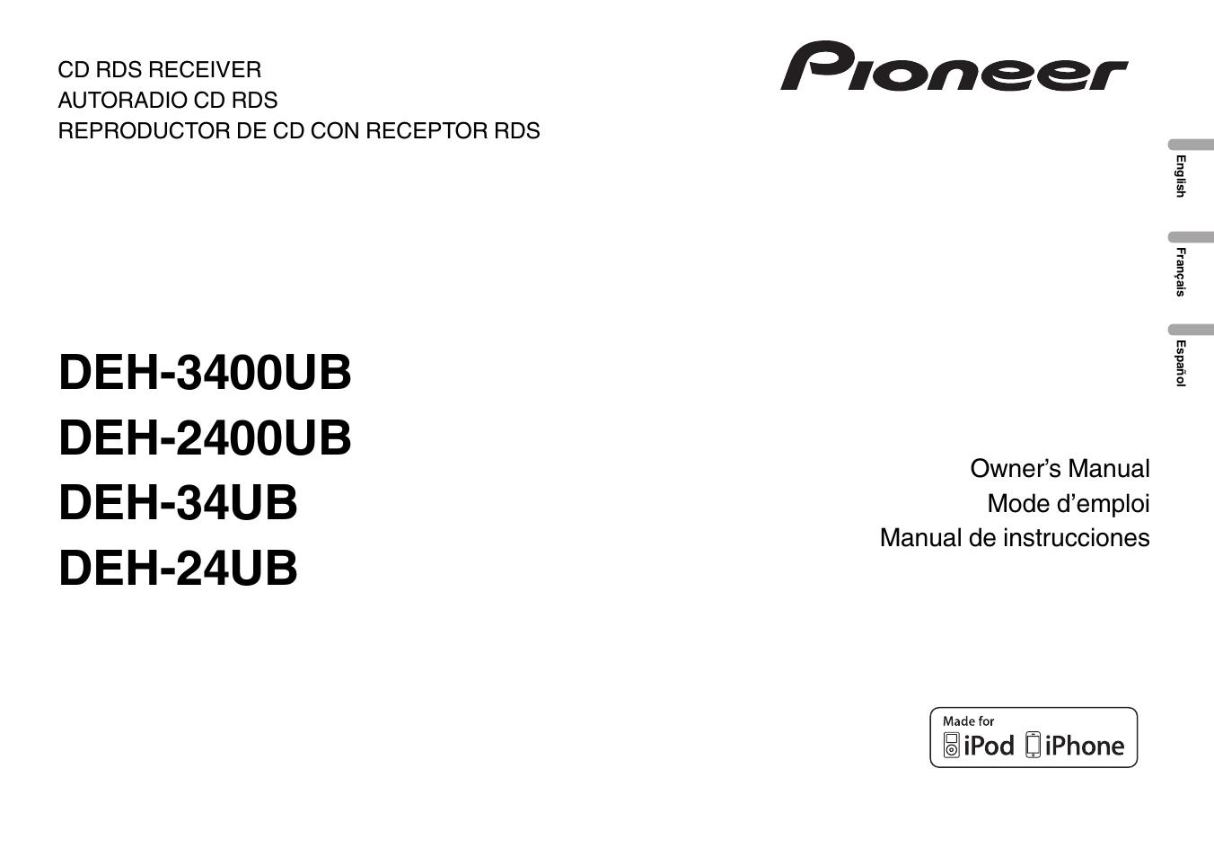 Pioneer Deh 2400ub Manual Dansk Wiring Diagram 3400ub User 56 Pages Rh Manualsdir Com