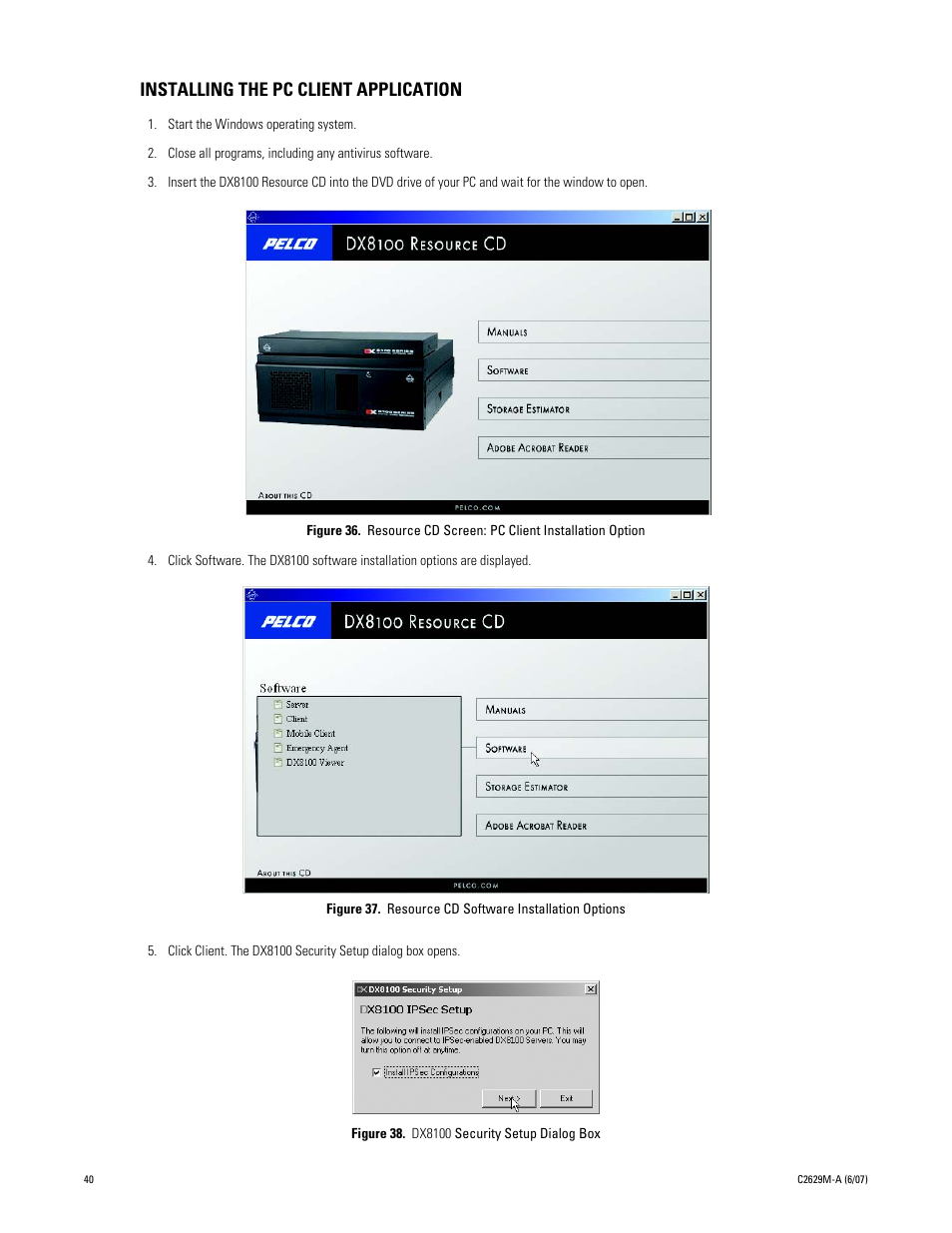 installing the pc client application resource cd screen pc client rh manualsdir com Pelco DX8100 Viewer Pelco DX8100 exacqVision NVR NVR