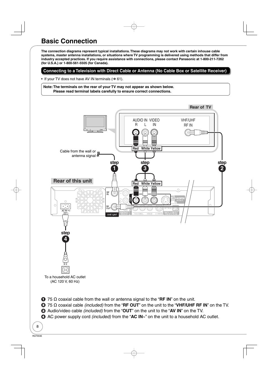 Basic connection | Panasonic DMR-EZ28 User Manual | Page 8 / 84