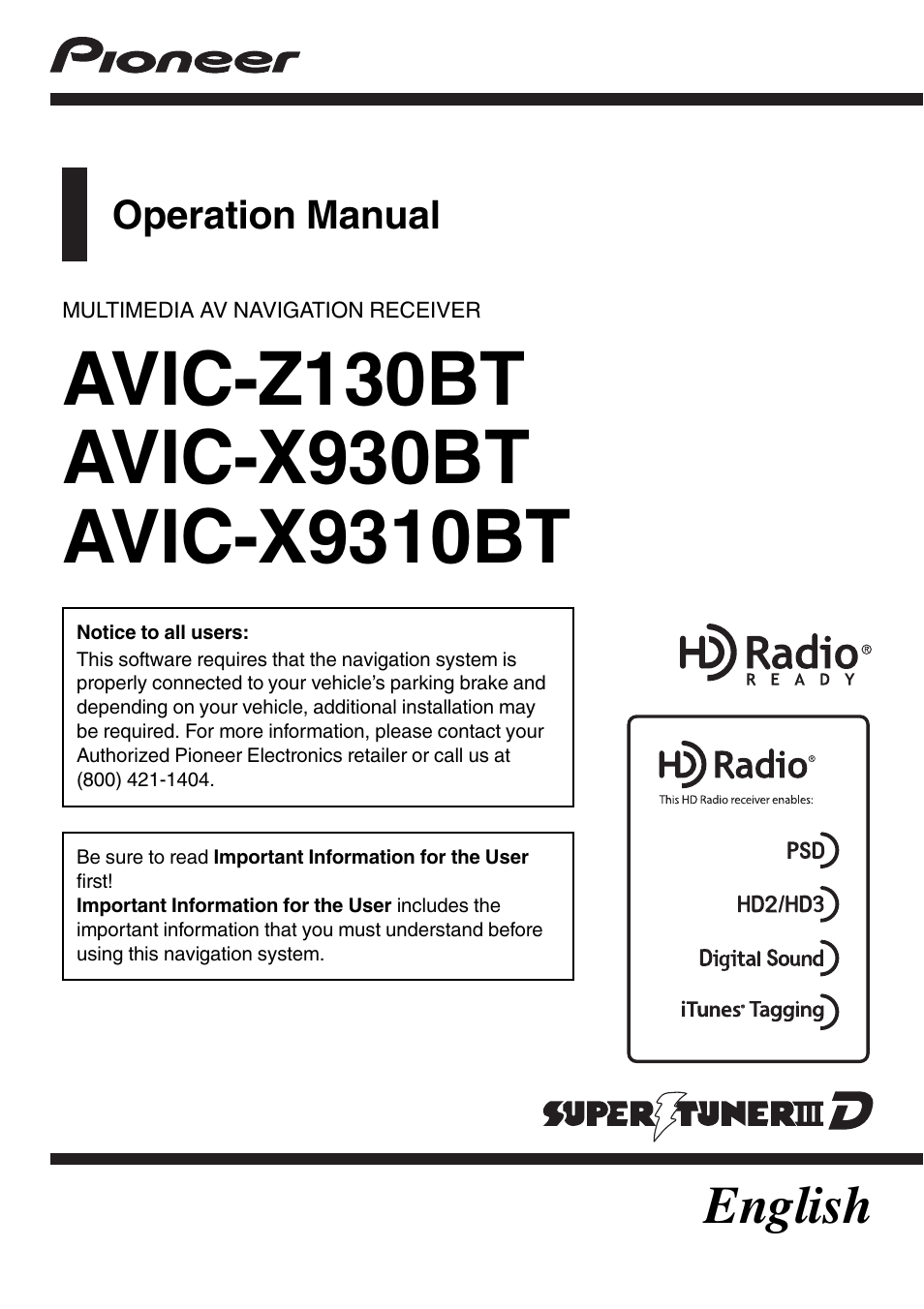 pioneer super tuner iiid avic x9310bt user manual 232 pages also rh manualsdir com Pioneer AVIC-Z130BT Inputs operation manual for pioneer avic-z130bt