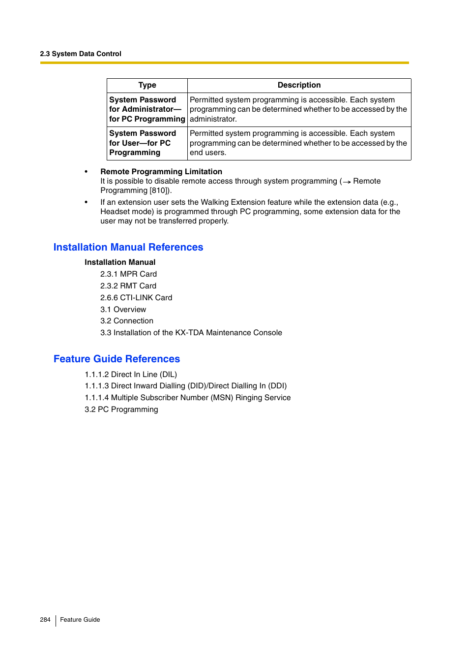 Installation manual references, Feature guide references | Panasonic HYBRID  IP-PBX KX-TDA200 User Manual | Page 284 / 358