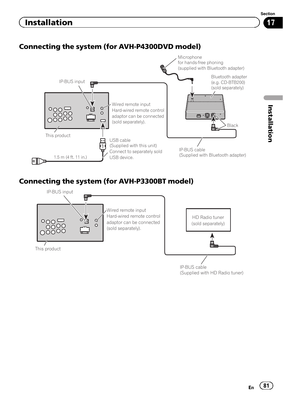 connecting the system (for avh-p4300dvd model), connecting the system (for  avh-p3300bt model), installation | pioneer avh p4300dvd user manual | page  81 /