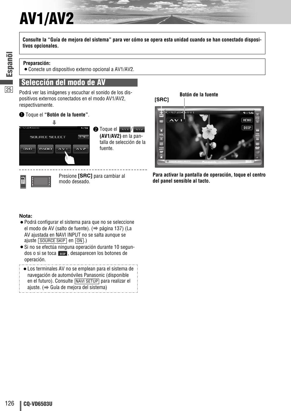 Av1/av2, Espanõl, Selección del modo de av | Cq-vd6503u |