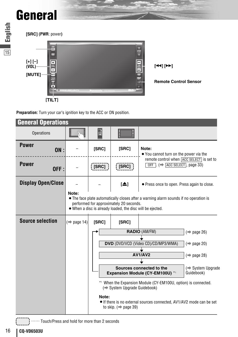 Panasonic Cq Vd6503u Wiring Diagram Library Rx400u General English Operations User Manual Page 16