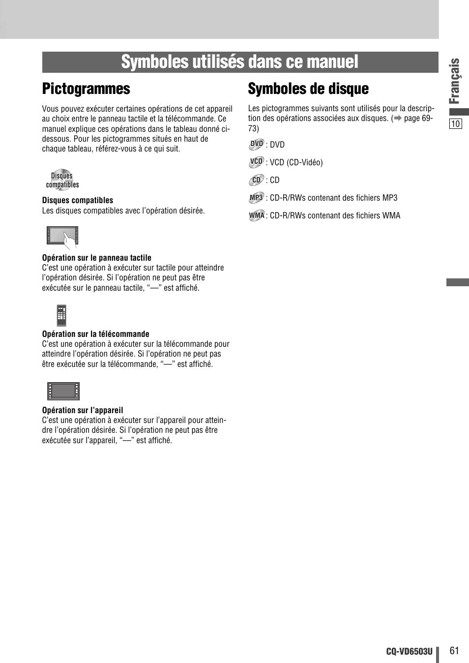 Symboles utilisés dans ce manuel, Pictogrammes, Symboles de disque |  Français | Panasonic CQ