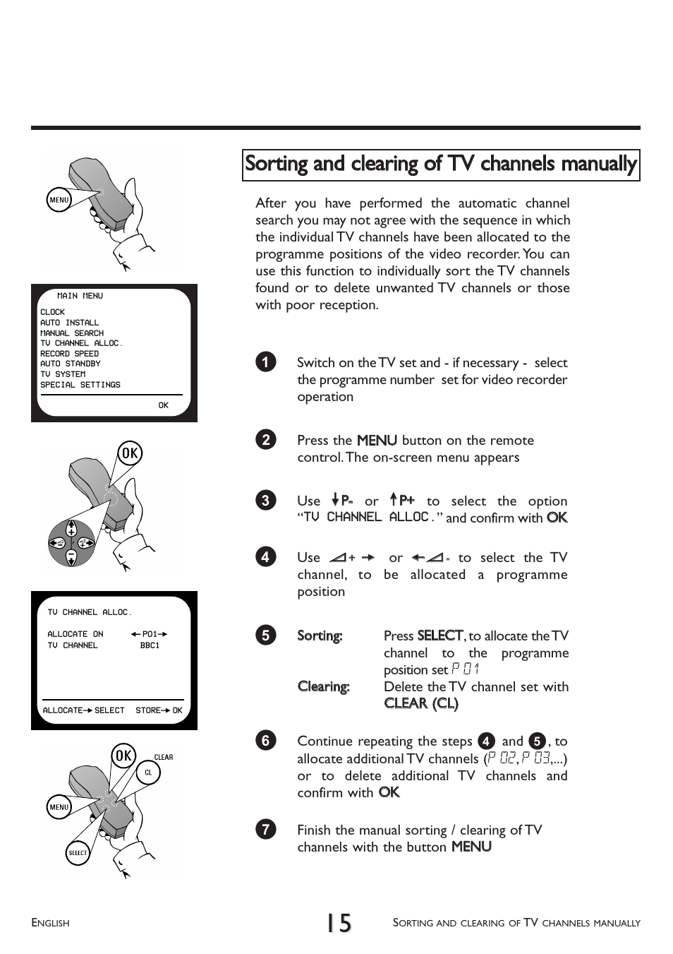 Sorting and clearing of tv channels manually | Philips VR