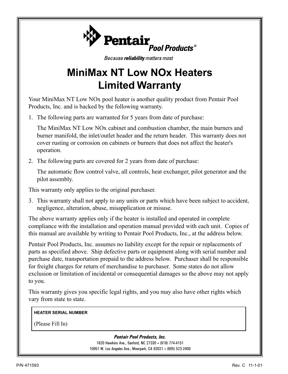 Minimax Nt Low Nox Heaters Limited Warranty Pentair