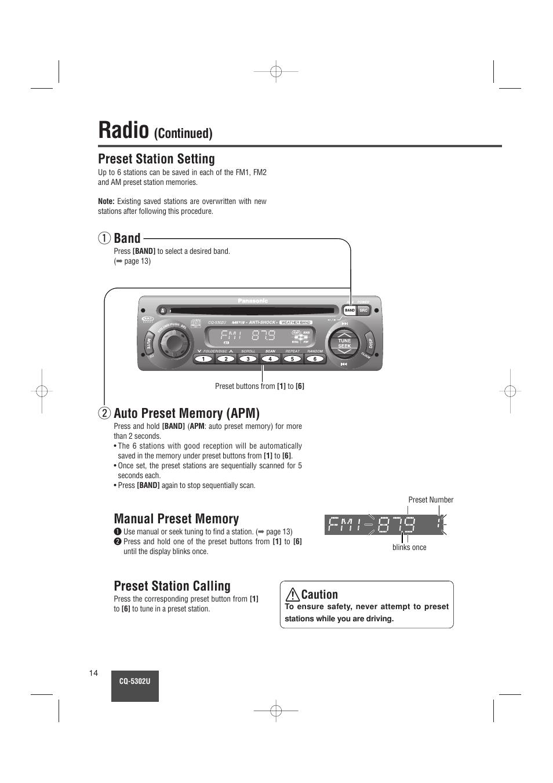 radio preset station setting band panasonic cq 5302u user manual rh manualsdir com Panasonic.comsupportbycncompass Panasonic Manual Ra 6800
