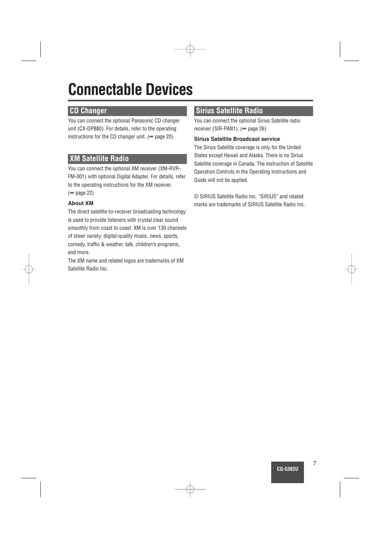 connectable devices cd changer xm satellite radio panasonic cq rh manualsdir com panasonic 6 cd changer manual panasonic 5 cd changer stereo system manual