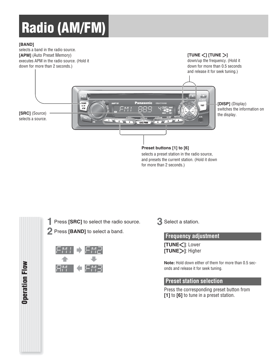 Radio (am/fm), Operation flow | Panasonic CQ-C1333U User ... on panasonic cq c1110u, panasonic dvd wiring, panasonic cq-c7301u, panasonic cassette diagram, panasonic car stereo wiring diagram,