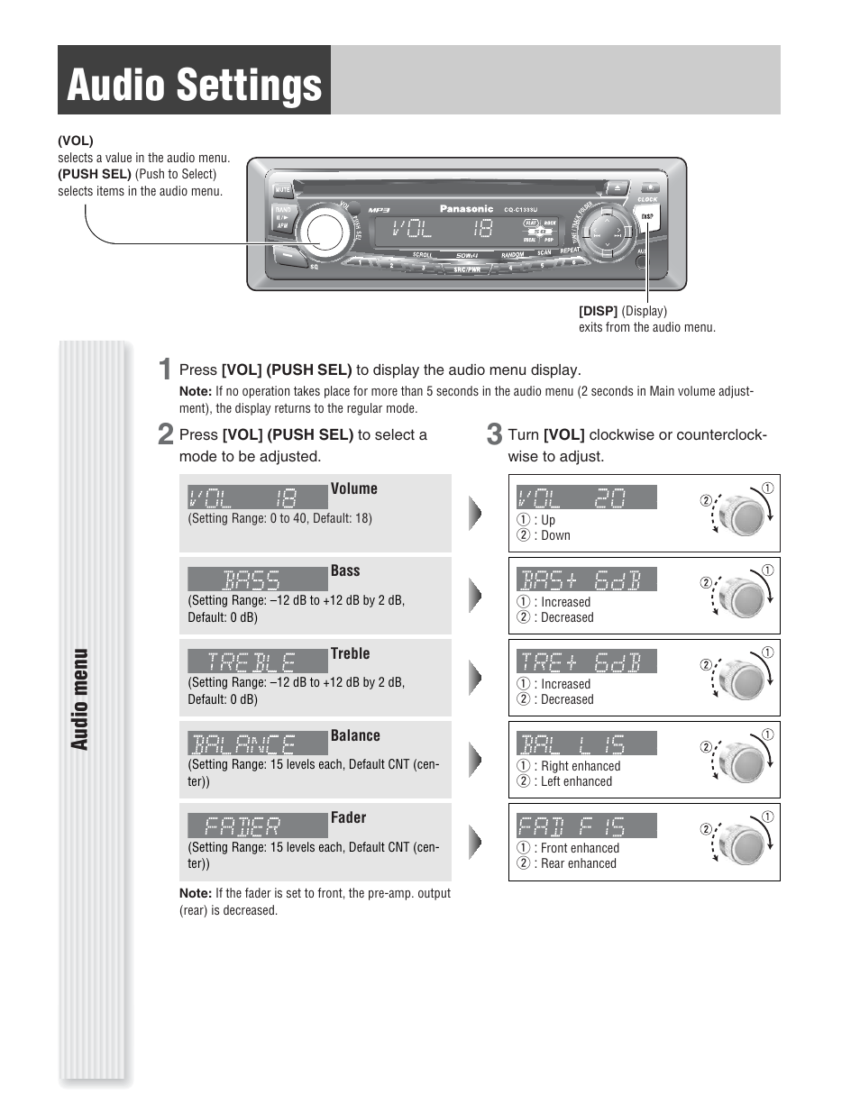 Panasonic Cq Vd6505u Wiring Diagram Diagrams Data Base C1121u C1333u Online Schematics Rh Delvato Co On Double Din Radio For Audio Settings Menu