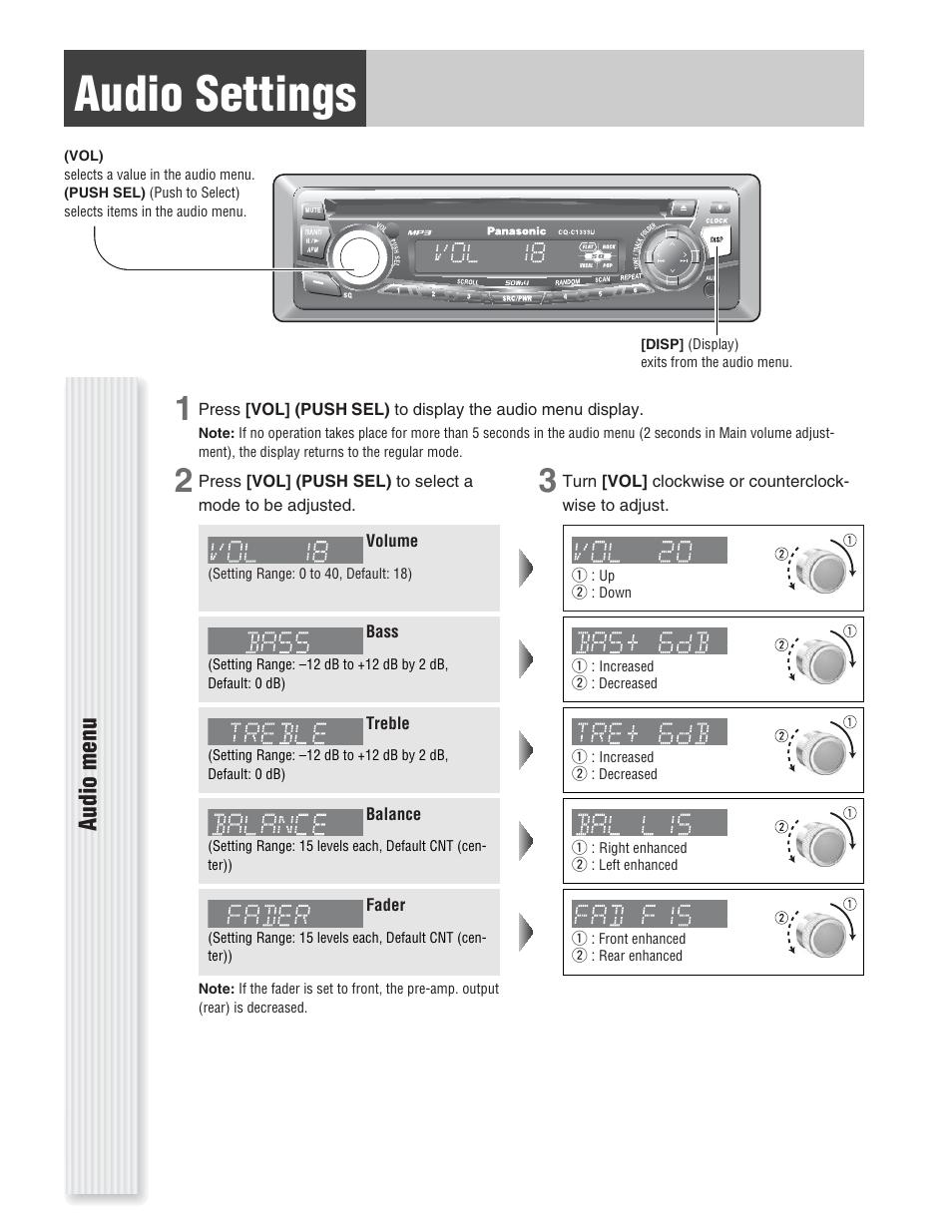 Panasonic Cq C1333u Wiring Diagram Schematics And Diagrams Car Stereo Also Cp134u Audio Settings Menu User Manual Page Jvc