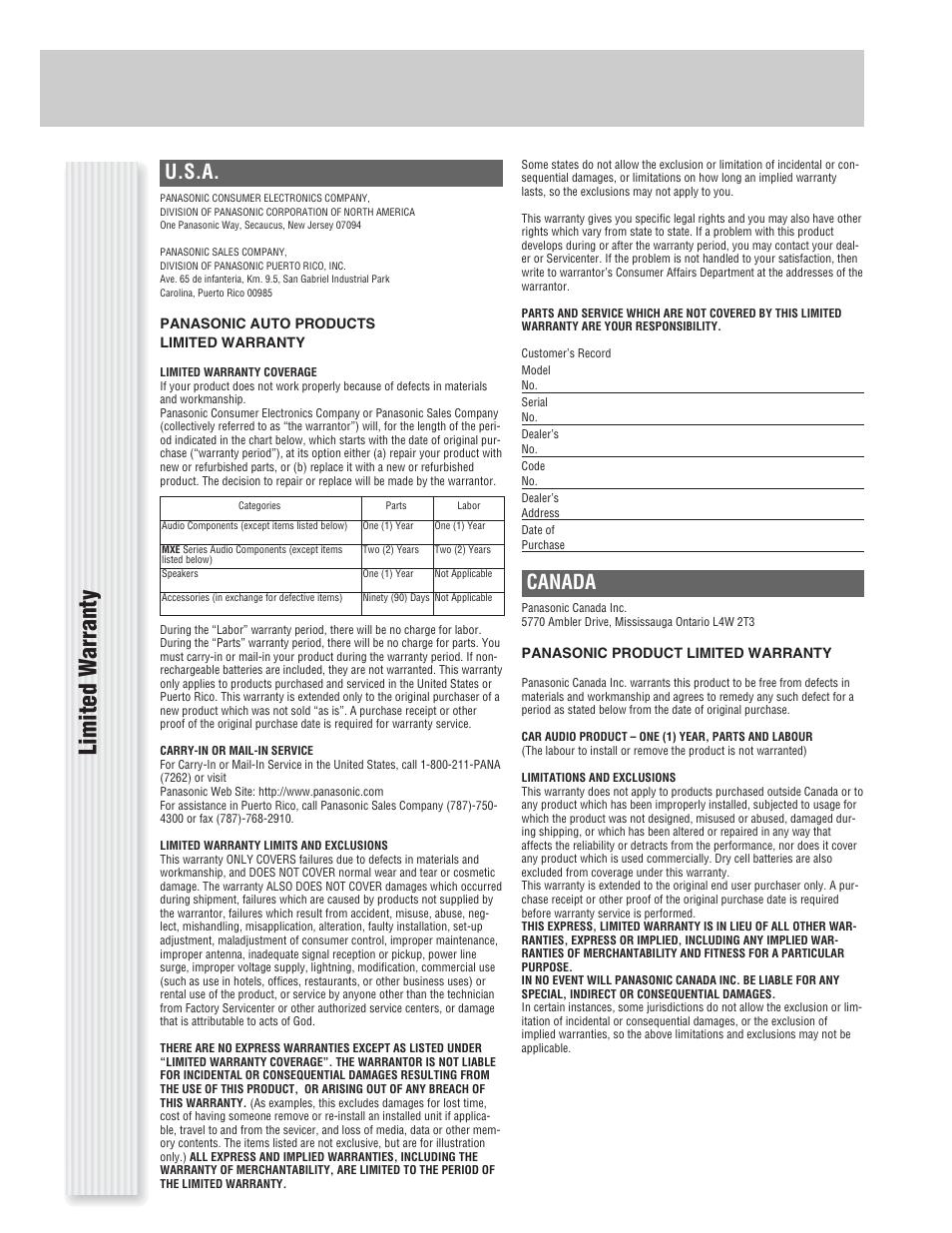 Panasonic Cq C1333u Wiring Diagram Schematics And Diagrams Car Stereo Also Cp134u Limited W A Rranty U S Canada User Manual