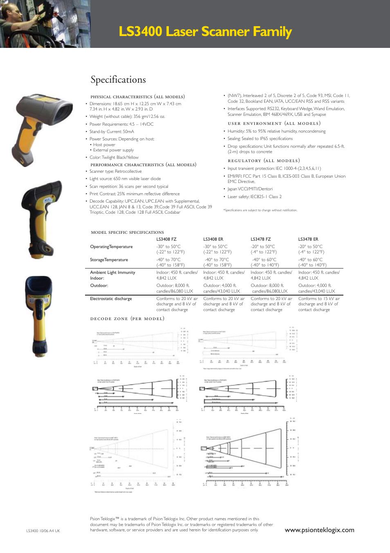 Ls3400 laser scanner family, Specifications | Psion Teklogix