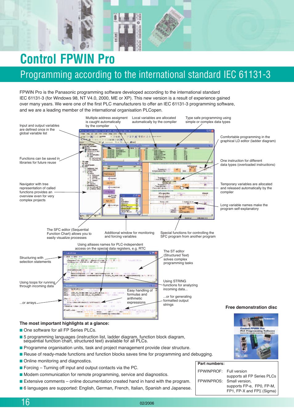 Control fpwin pro | Panasonic FP (Sigma) User Manual | Page 16 / 20