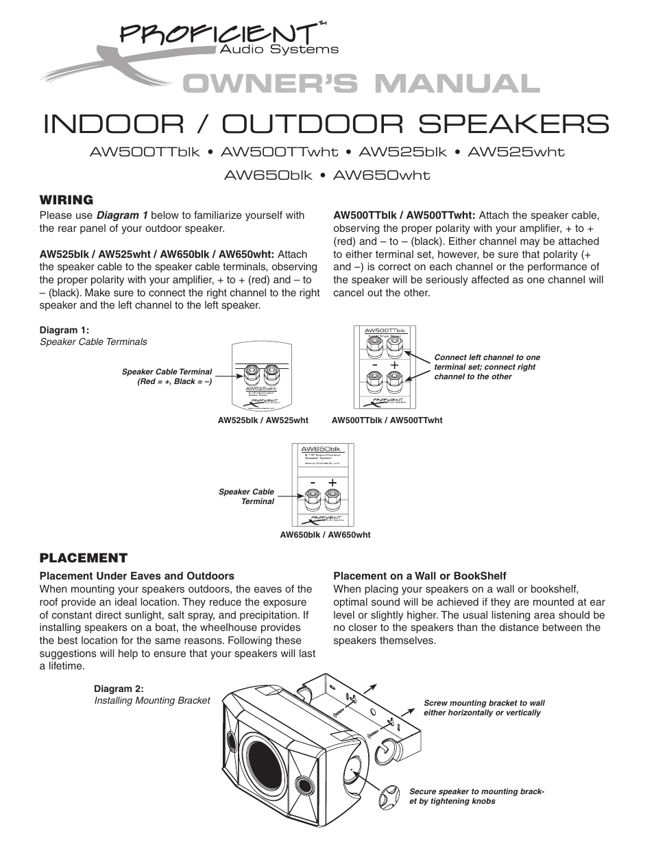 Proficient Audio Systems AW650blk User Manual | 2 pages | Also for:  Proficient AW525BLK, Proficient AW525WHT, Proficient AW500TTBLK, AW650wht,  Proficient ...