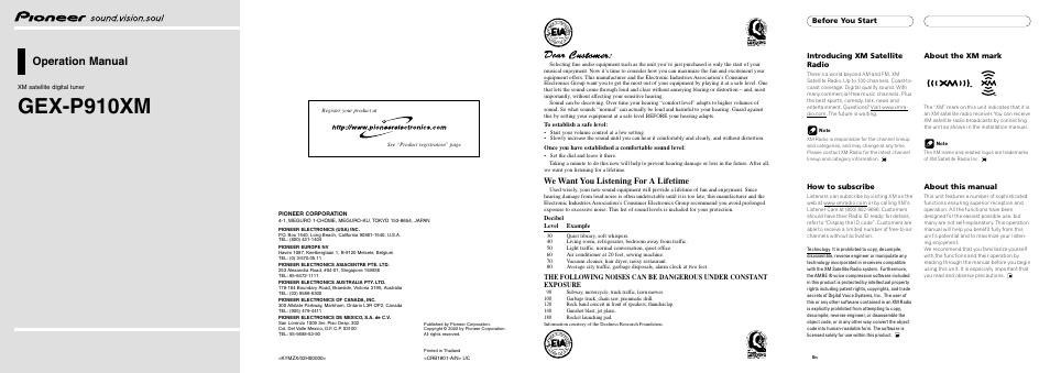 pioneer xm satellite digital tuner gex p910xm user manual 4 pages rh manualsdir com