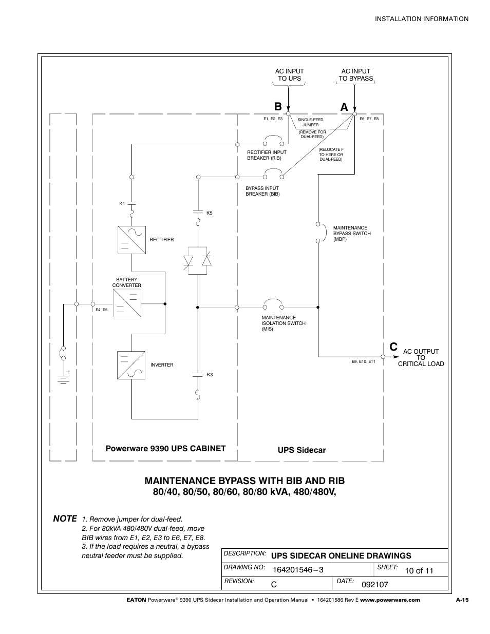 Powerware 9390 Ups Cabinet Sidecar Bypass Switch Wiring Diagram User Manual Page 65 124