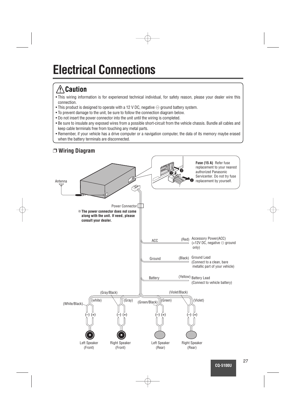Electrical Connections  Caution  Wiring Diagram