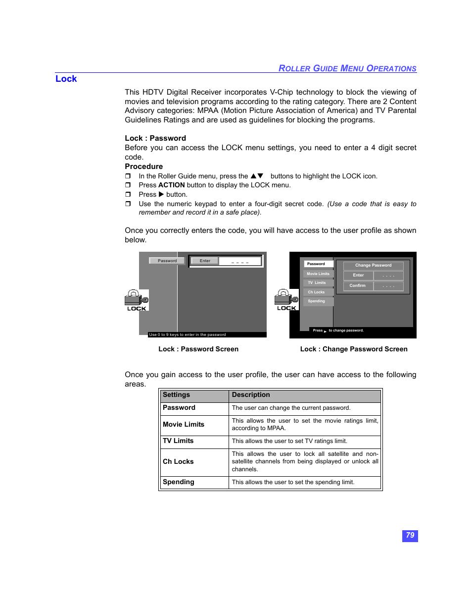 Lock | Panasonic TU-HDS20 User Manual | Page 80 / 101