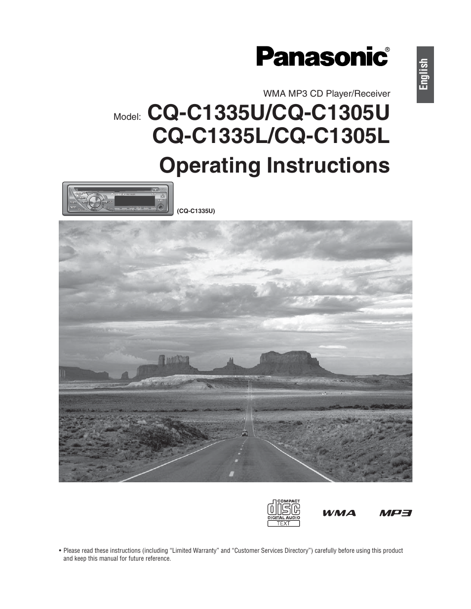 Panasonic CQ-C1305L User Manual   24 pages   Also for: CQ-C1335L, CQ-C1305U,  CQ-C1335U