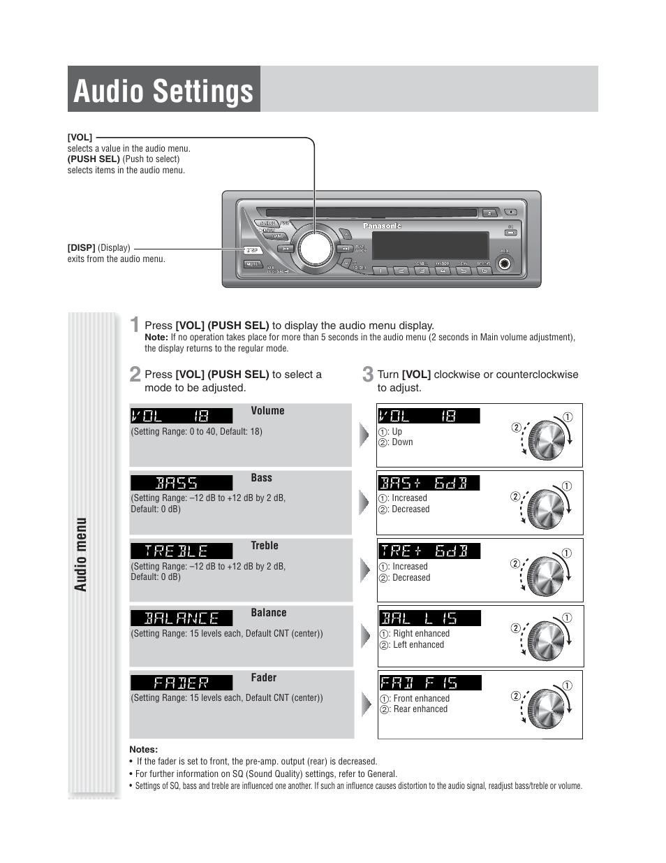 Panasonic Cq C1305u Wiring Diagram Library C7 Car Stereo Harness Audio Settings Menu C1305l User Manual Page 15