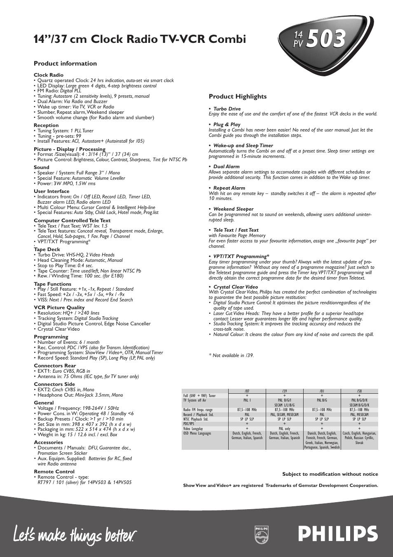 14 37 cm clock radio tv vcr combi philips 14pv503 user manual rh manualsdir com Philips Electronics Manuals Philips DVD Player Manual