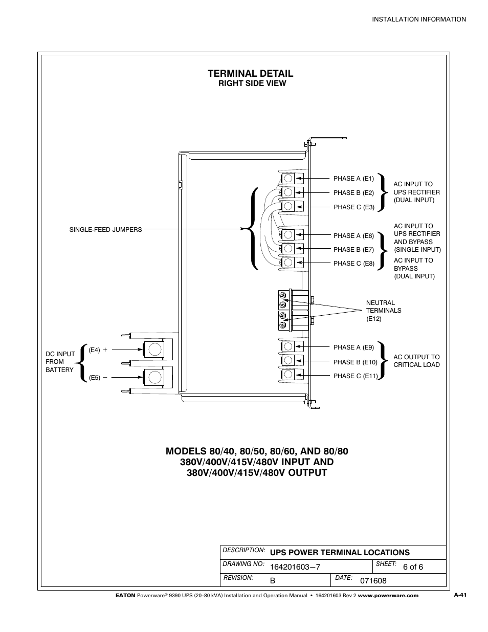 A 42 For Powerware Hot Sync Terminal Detail 9390 Ups 380v Single Line Wiring Diagram 100160 Kva User Manual Page 189 216