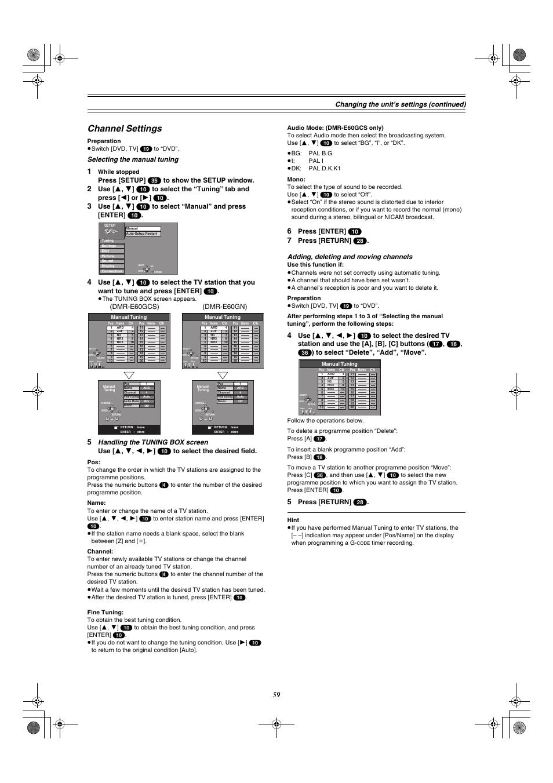 channel settings changing the unit s settings con tinued rh manualsdir com Panasonic DMR EZ485V panasonic dmr-e60 dvd recorder manual