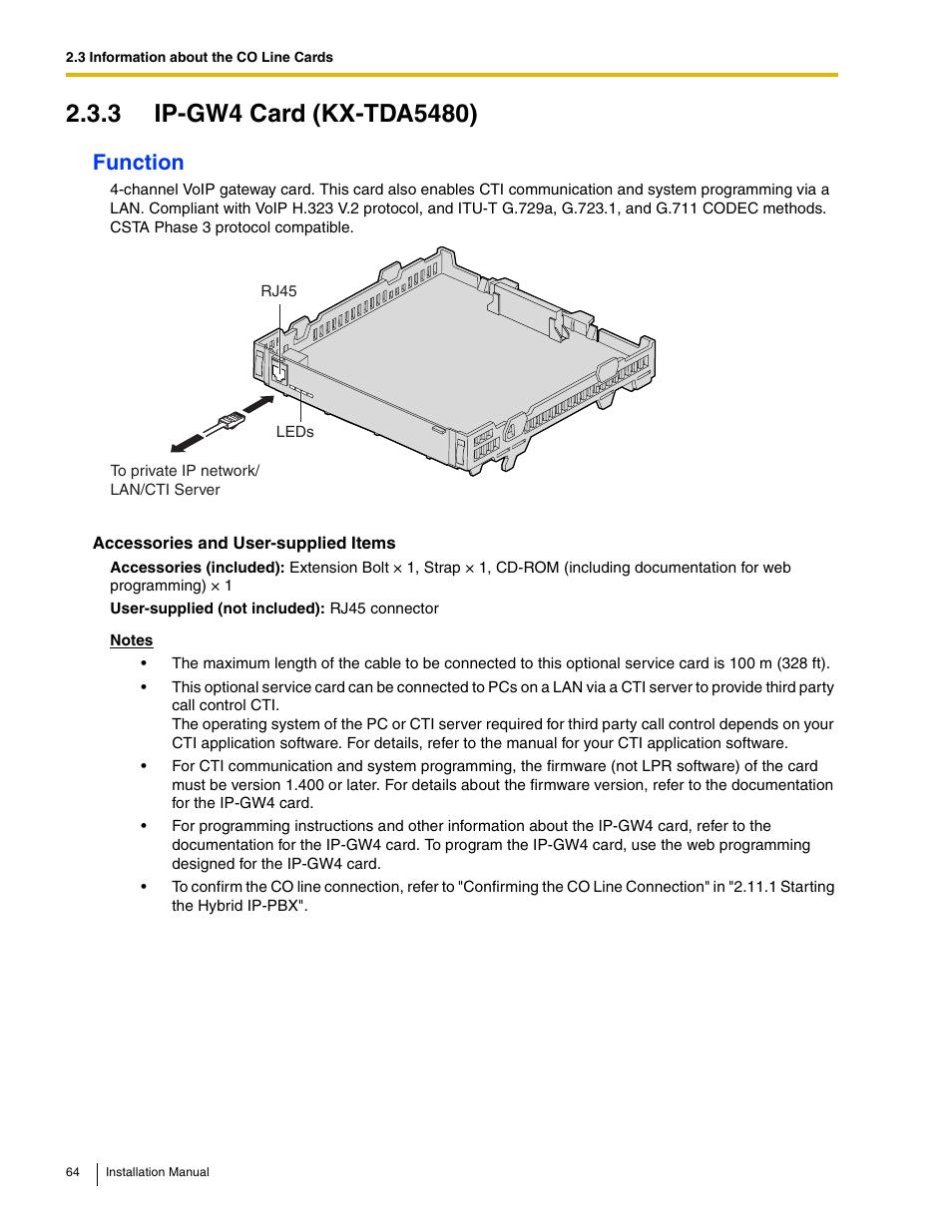 3 ip-gw4 card (kx-tda5480), Function | Panasonic HYBRID IP