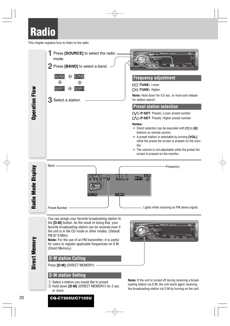 Panasonic Car Stereo Wiring Diagram Cq C1110u Trusted C7301u C7105u Library Audio Each Source Radio