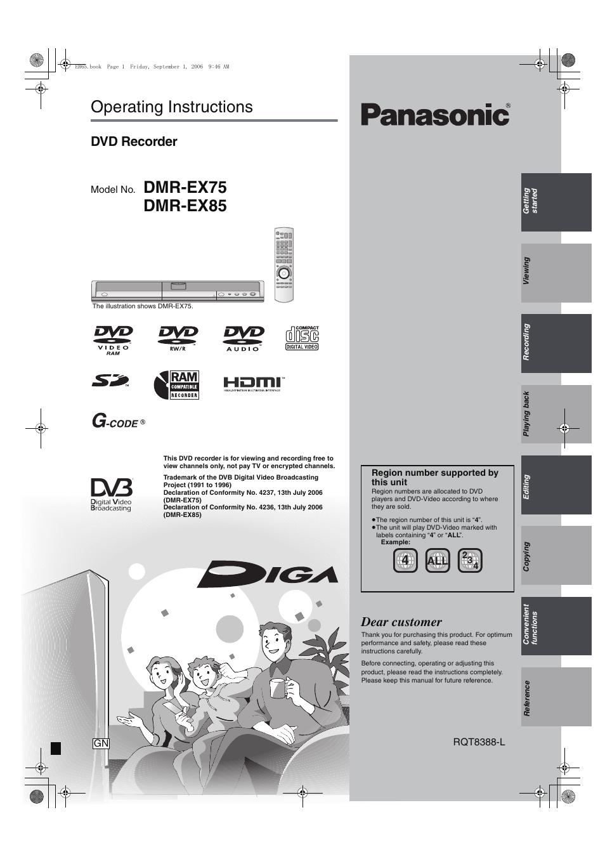 panasonic dmr ex85 manual free owners manual u2022 rh wordworksbysea com panasonic dvd recorder dmr-ex85 manual Panasonic DVD VHS Recorder Manual