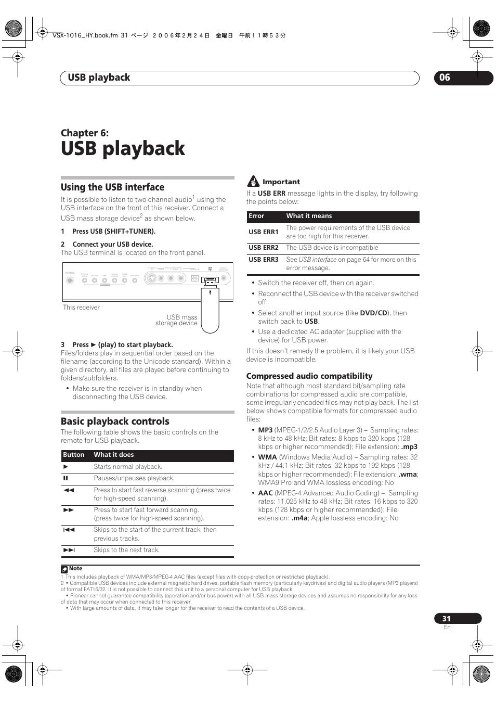 06 usb playback, Using the usb interface basic playback