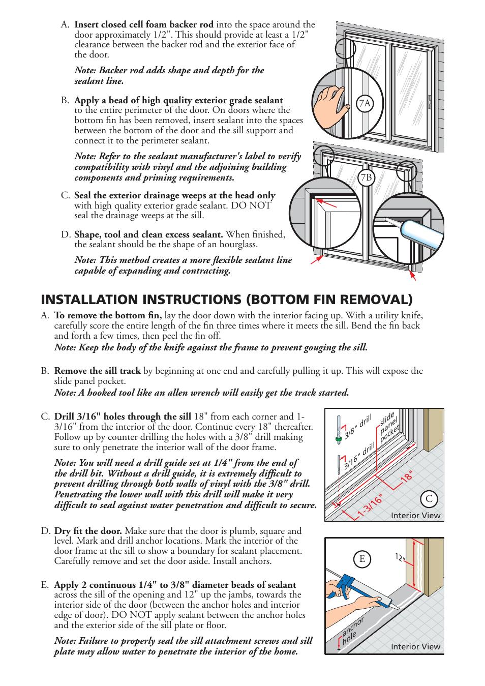 Installation instructions (bottom fin removal) | Pella Sliding Patio ...