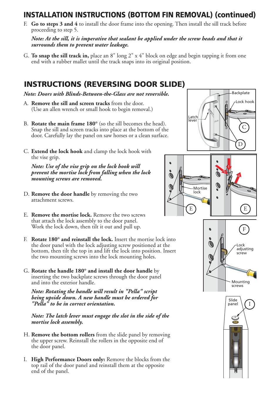 Instructions Reversing Door Slide Pella Sliding Patio Door
