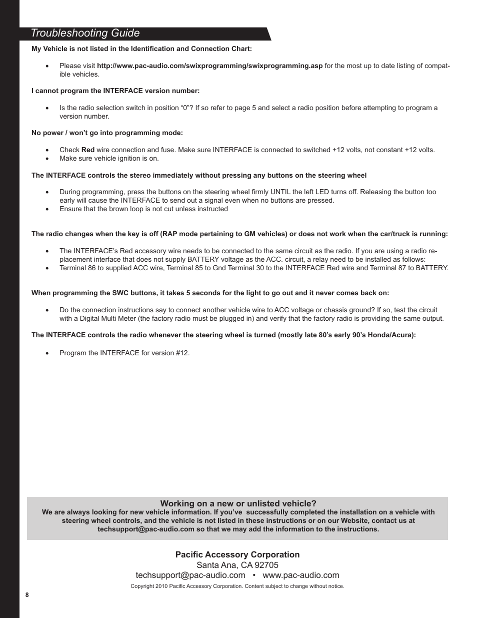Troubleshooting guide | PAC SWI-RC User Manual | Page 8 / 8