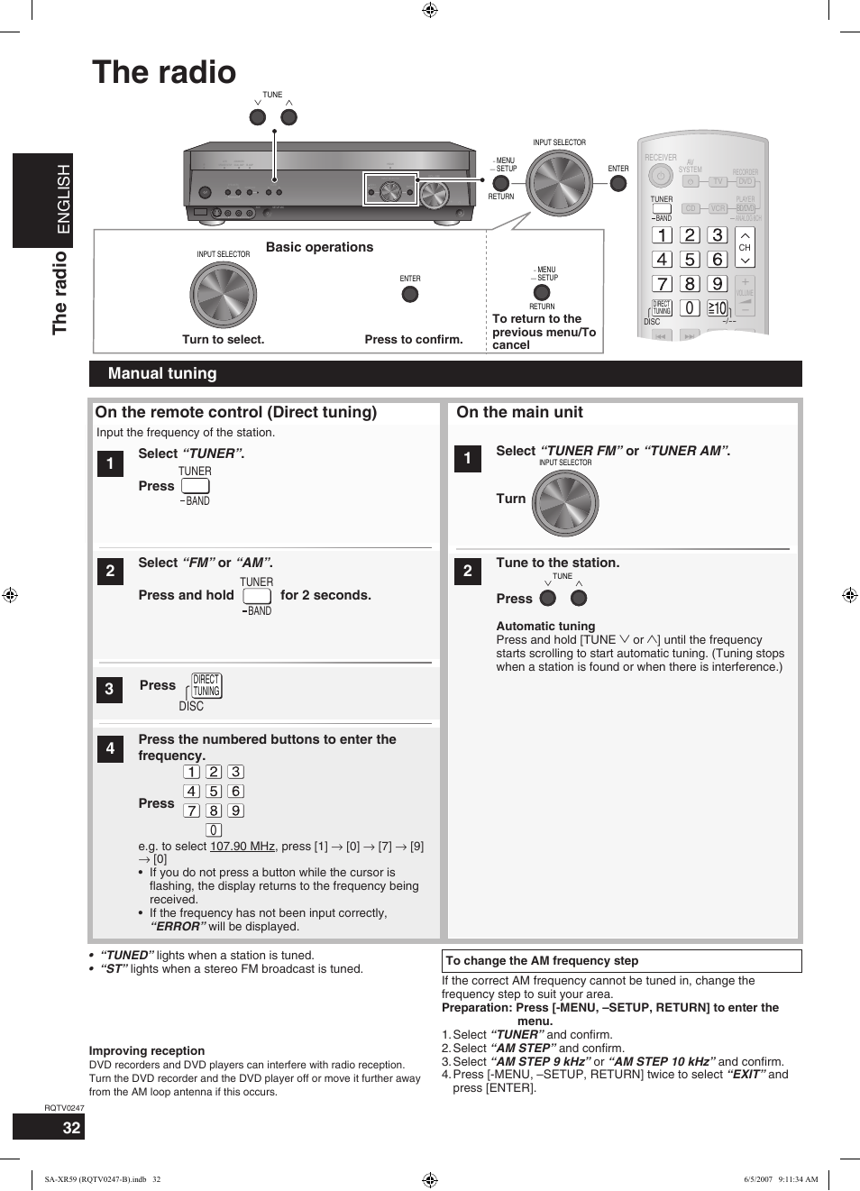 the radio english on the main unit panasonic sa xr59 user manual rh manualsdir com Panasonic Owner's Manual Panasonic Technical Support