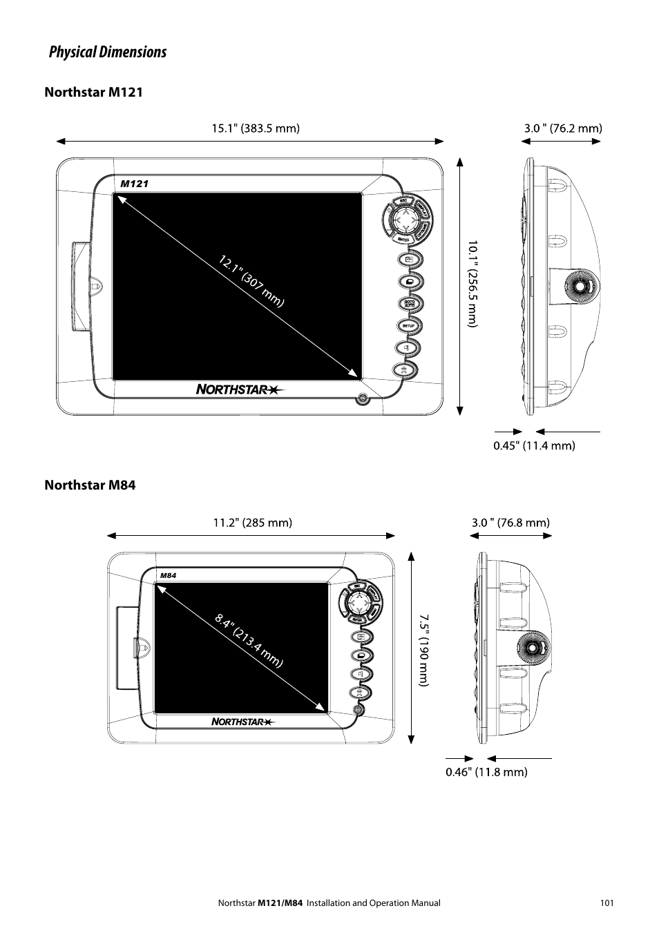 Physical dimensions, Northstar m121, Northstar m84 | NorthStar Navigation  Multi-Function Unit M84 User Manual | Page 102 / 113