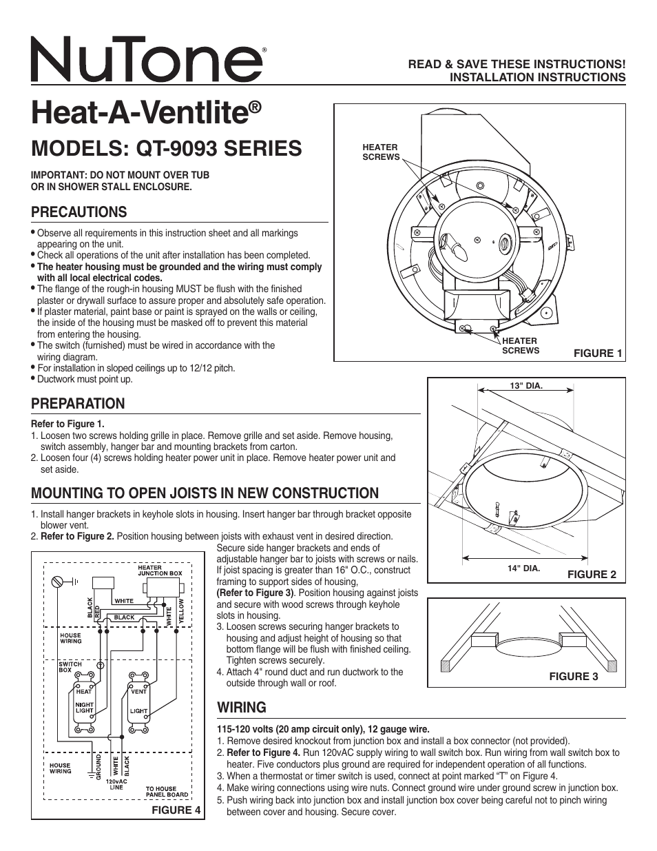 Nutone Heat A Ventlite Qt 9093 User Manual 2 Pages Ceiling Heater Wiring Diagram