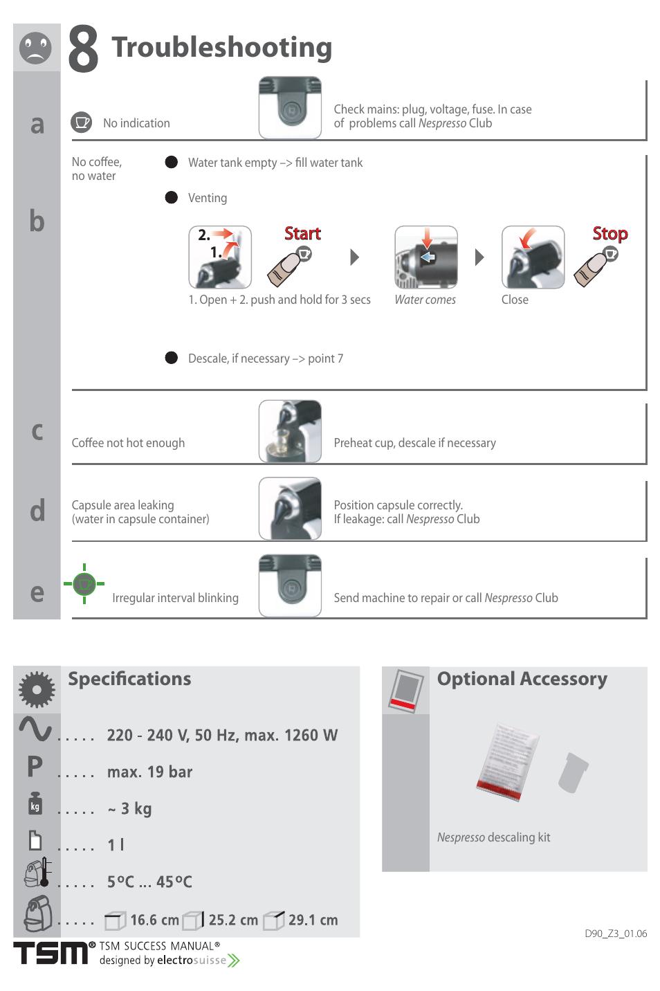 troubleshooting specifi cations optional accessory start rh manualsdir com d 90 user manuall nespresso essenza d90 user manual