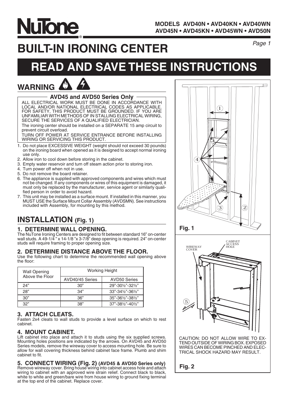 Nutone Avd50n User Manual 8 Pages Wiring Through Studs