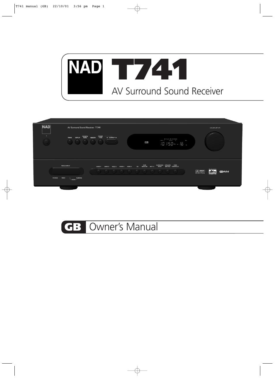 nad t741 user manual 20 pages rh manualsdir com