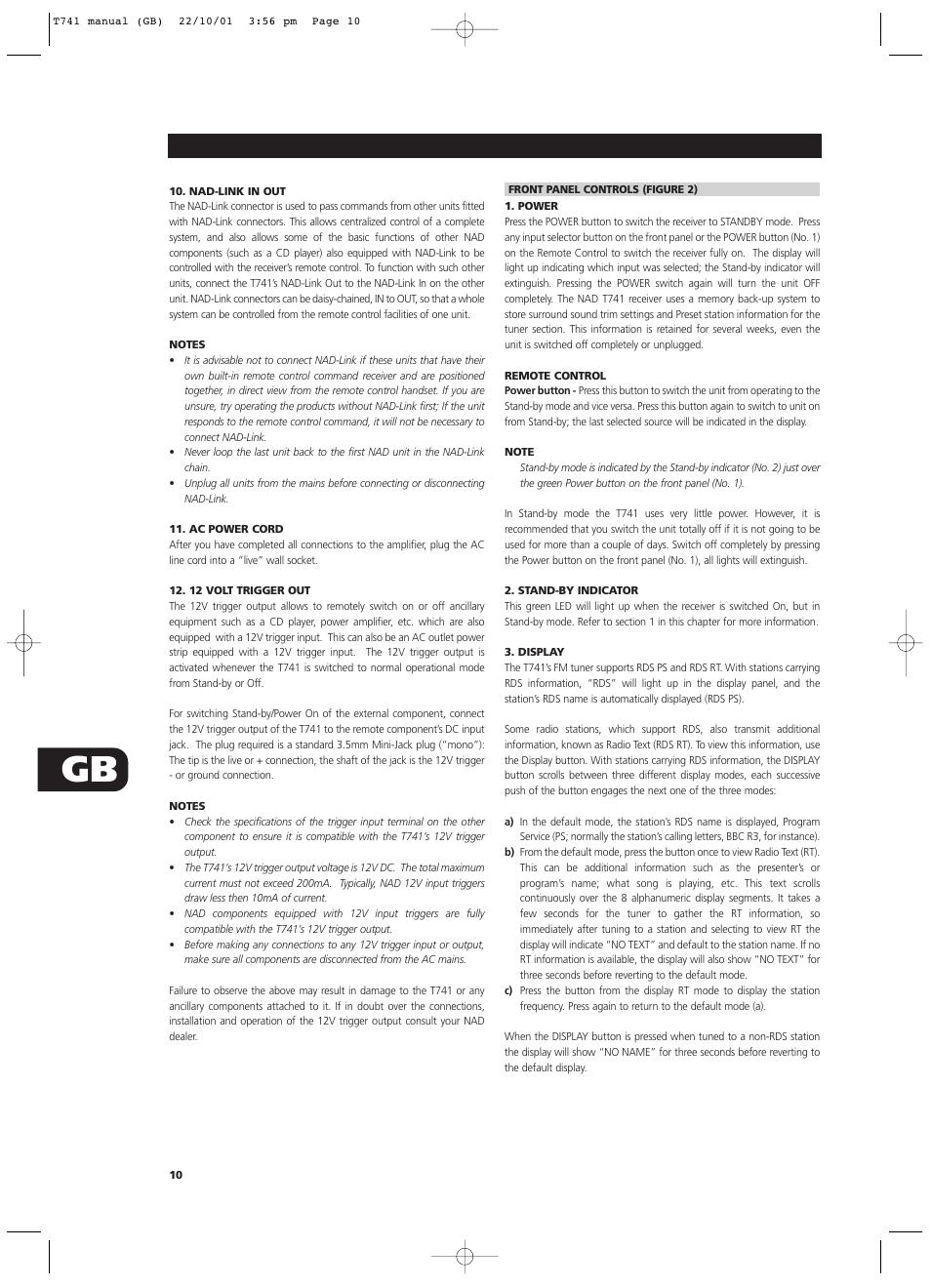 nad t741 user manual page 10 20 original mode rh manualsdir com
