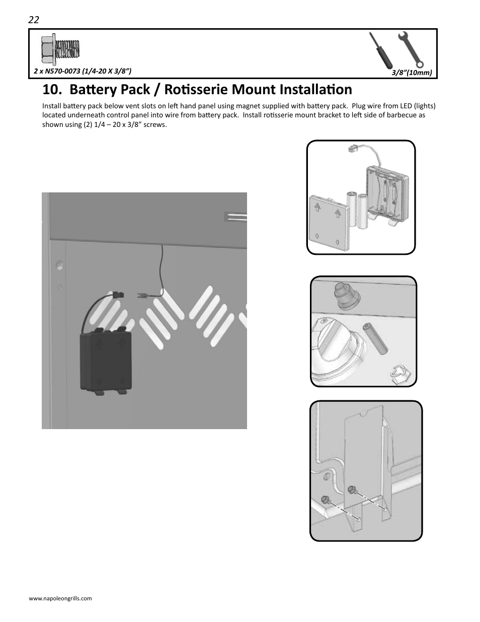 Battery Pack Rotisserie Mount Installation Napoleon Grills Pole Mounted Controller Wiring Diagram Ld485rsib User Manual Page 22 40