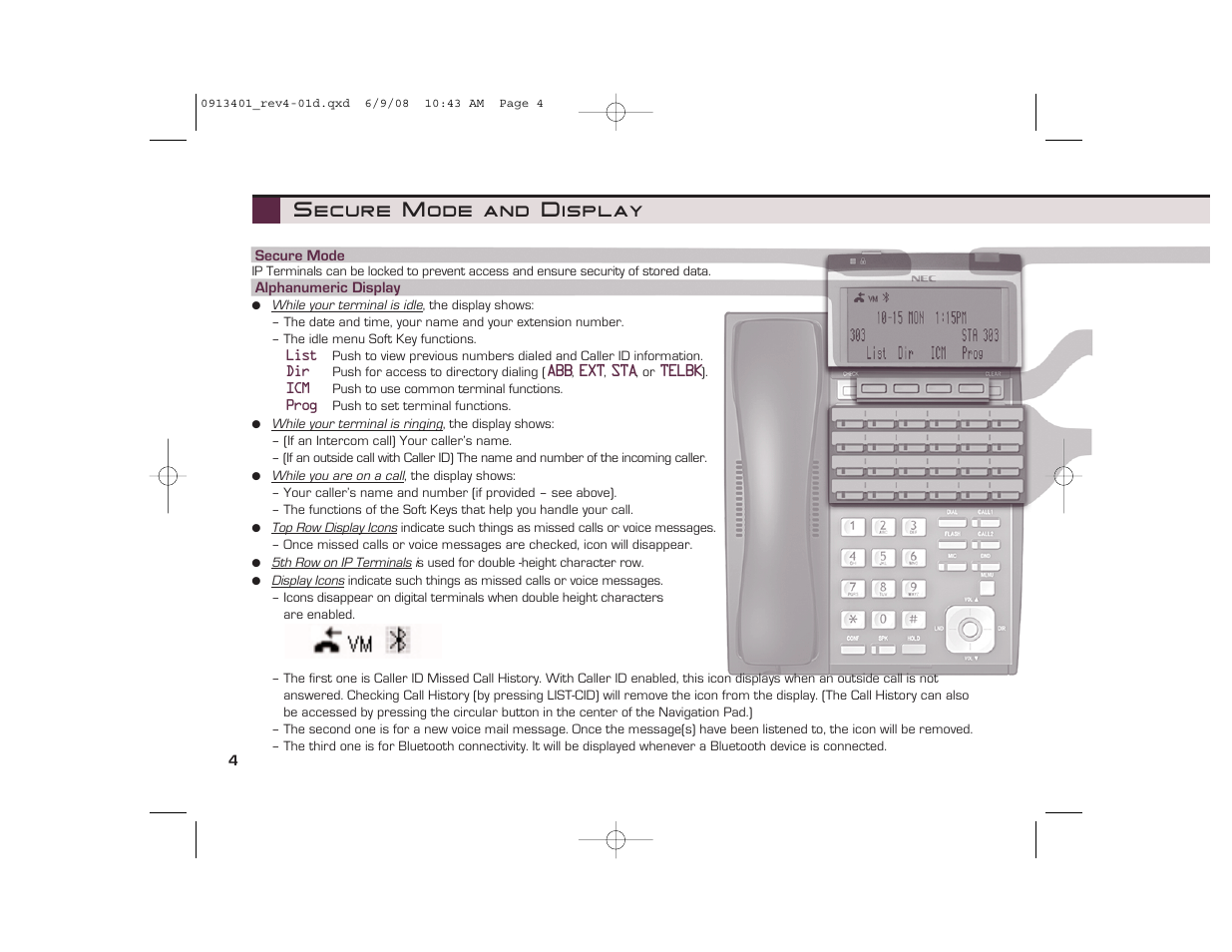 secure mode and display nec ux5000 user manual page 4 24 rh manualsdir com NEC UX5000 Headset NEC Handset Bluetooth