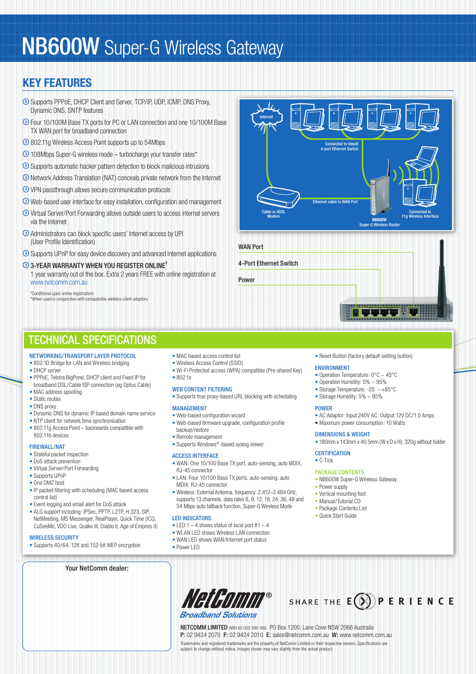 Wireless Gateway Manual Igt G23 Wiring Diagram Smg Session Initiation Protocol Port Computer Networking Array Nb600w Super G Technical Specifications Netcomm Rh