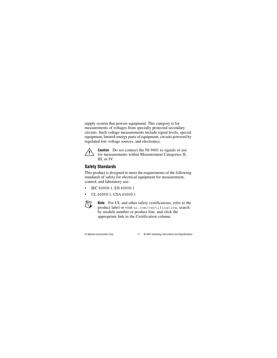 Safety standards | National Instruments NI 9401 User Manual
