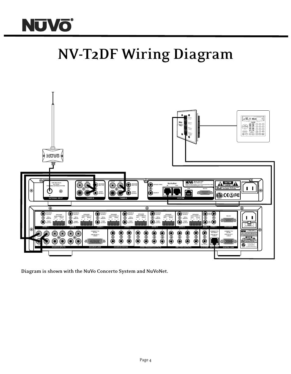 Nv-t2df wiring diagram, Page 4, System on do not disturb | Nuvo NV-T2DF  User Manual | Page 4 / 25
