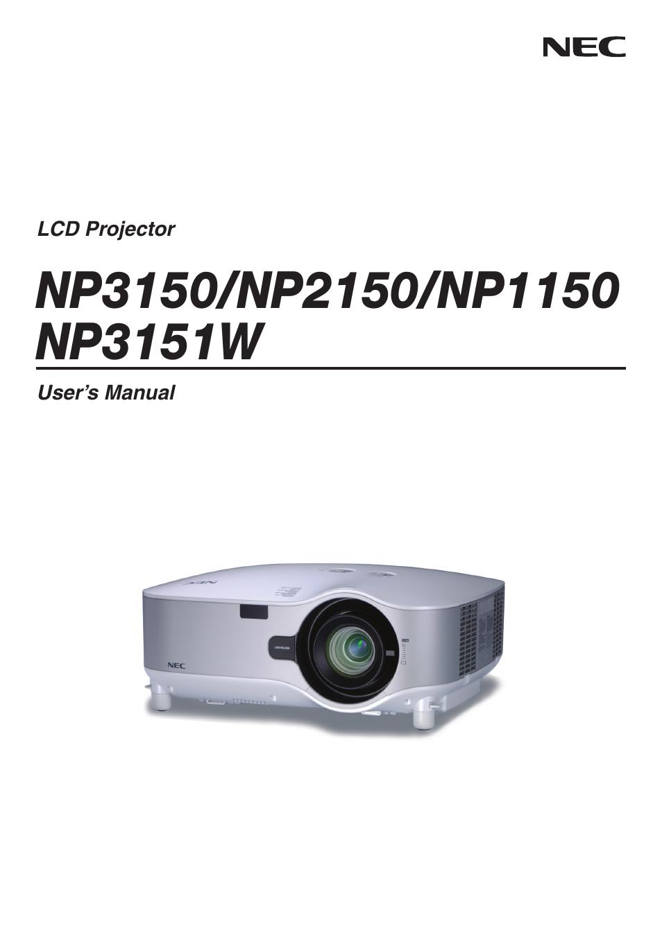 nec np3151w user manual 172 pages rh manualsdir com NEC Projectors Troubleshooting NEC LT380 Projector Manual PDF